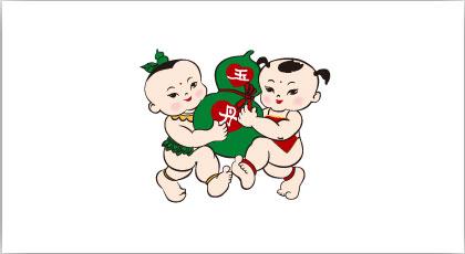 美美上海好好吉祥物矢量图